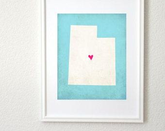 Utah Silhouette State Map Personalized Art Print