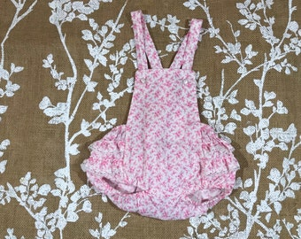 9m Pink Floral Vintage Sunsuit Bubble Romper Baby Girls