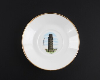 Vintage Porcelain Dish Leaning Tower of Pisa Hotel IL Campanile Collectible Plate Trinket Dish