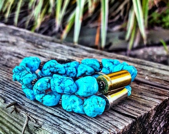 Southern Bullets Turquoise bullet bracelet. Healing jewelry. 9mm bullet casings. Teal. Handmade. Turquoise jewelry