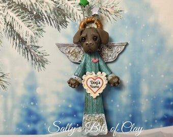 Chocolate Lab Labrador Retriever Angel Dog Christmas Sculpture Ornament READY to SHIP! PERSONALIZED with dog's name by Sally's Bits of Clay