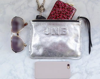 Small Metallic Silver Leather Clutch, Leather Pouch, Leather Monogram, Leather carryall, custom handmade to order with Initials