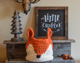 Crochet fox basket, fox Nursery decor, woodland nursery