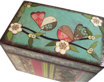 Recipe Box, Decoupaged, Colorful Bird Box, Large Handcrafted Box, Holds 4x6 Cards, Storage Organization,  MADE TO ORDER