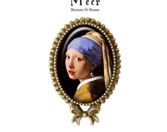 Ring the girl with a Pearl gem cabochon Johannes Vermeer painting
