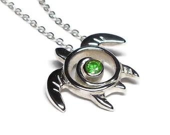 Green Garnet Sea Turtle Necklace - Tsavorite Garnet Turtle Pedant - January Birthstone - Turtle Totem Sterling Silver - Sea Life