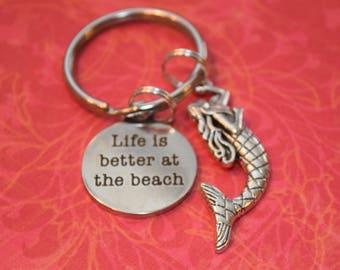 Life is better at the beach-mermaid charm, mermaid lover, beach gift, mermaid gift