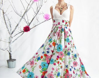 Maxi Skirt - Long Skirt, High Waisted Skirt, Floor Length Floral Skirt, Circle Skirt, Plus Size Maxi Skirt, Boho Skirt, Plus Size Dress