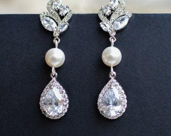 Long Bridal Earrings, Bridal Crystal Earrings, Long Bridal Earrings, Pearl Crystal Earrings,  Long Wedding Earrings, Bridal Pearl Earrings