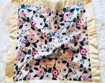 Floral Satin Edge Lovey with Velvet Backing, Minky, Plush, Security Blanket