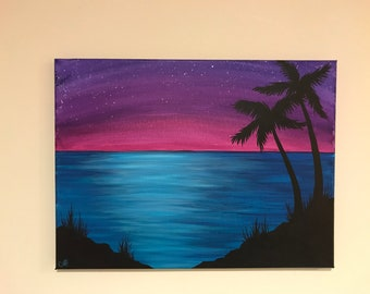 Tropical Sunset acrylic painting on 12x16 inch canvas