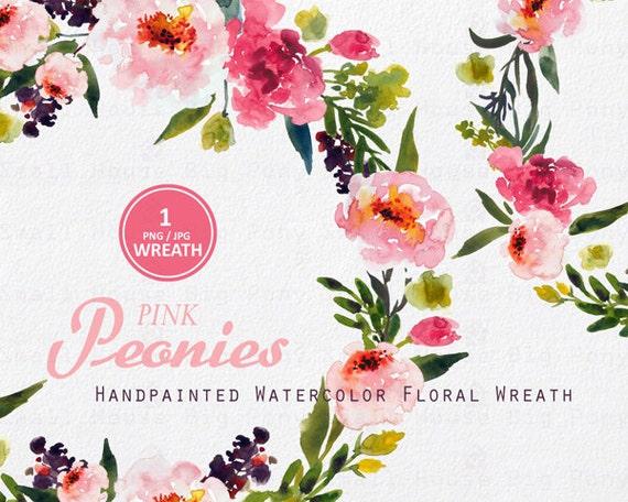Digital Clipart- Watercolor Flower Clipart, peonies Clip art, Floral Bouquet Clipart, wedding flowers clip art- Pink Peonies Wreath