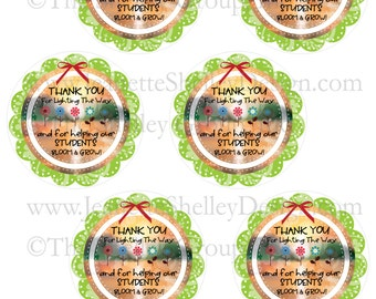 """DIY Printable Teacher Appreciation """"Thank You For Lighting The Way"""" Gift Tags"""