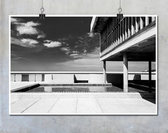 Le Corbusier Photography Marseilles Provence Unité d'Habitation roof paddling pool 1950s modernist architecture monochrome poster big print