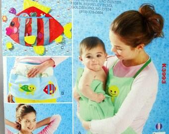 Kwik Sew 3993, Apron Sewing Pattern, Sewing Pattern, Aprons and Toy Holder, 2 Styles Aprons, Sewing Pattern, New, Uncut