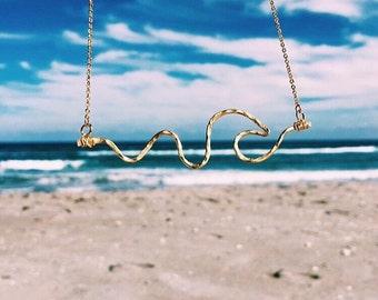 Wave Necklace Beach Necklace Gold Wave Necklace Lifeguard Necklace