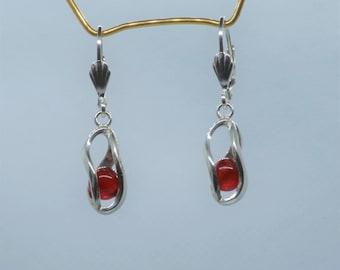 Earrings of carnelian and silver