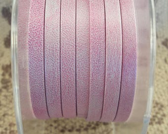 double 5mm flat leather strap Pink mother of Pearl vintage European quality