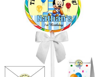 40 ~ Large Mickey Mouse 1st Birthday Party Stickers ~ FREE SHIPPING  ~ 2 inches~great for lollipops, suckers, seals, goody bags, etc.