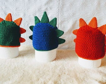 Baby crochet dragon hat - The DRAKE - comes in Green, Red or Blue, with dragon spikes - birthday gift ideas for kids