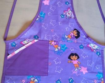 Apron, kids apron, girl's apron, gift idea, cooking apron, Dora the explorer apron, purple apron