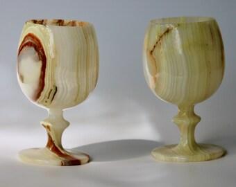 Pair of Alabaster Wine Glasses