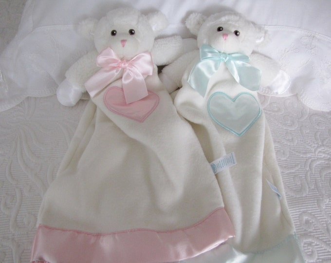 Personalized Lovie Babies Lamb in Blue or Pink, Security Blanket, First Christmas Gift