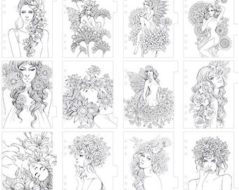Prima - My Prima Planner - Coloring Tabbed Dividers 12 Pack Princesses - Fairies & Flowers