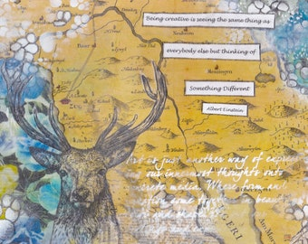 Zug Map Mixed Media - Deer