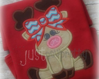 Deer Rudette Girl Reindeer Embroidery Applique Design