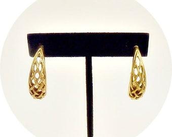 Vintage Gold Hoop Earrings, Retro Hoop Earrings, Antiqued Gold, Hoop Earrings, Gold Hoops, Vintage Jewelry Earrings