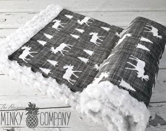 Moose Baby Blanket - Designer Minky - White Moose - White