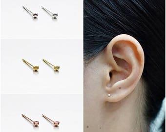 925 Sterling Silver Earrings, Tiny Dot Earrings, Gold Plated, Rose Gold Plated,Tiny Ball Earrings, Stud Earrings Size 2 mm (Code : EB75Y)
