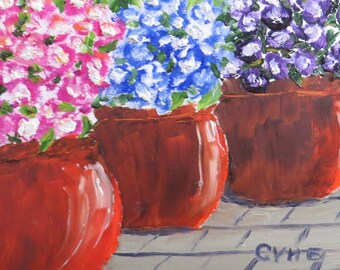 Petunia Flowers Original Oil Painting-Oil 6x6-Canvas-Home Decor-Gift-Wedding Gift-Impasto-Spring-Cottage-Clay Pots-Floral-