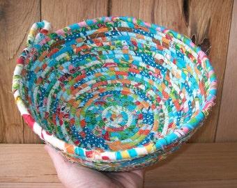 Handmade Coil basket, clothesline small basket storage basket colorful fabric basket,country basket  coiled fabric basket  Mothers day gift