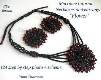 """Macrame tutorial. Necklace and earrings """"Flower"""""""