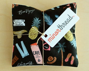 Modern Organic Lavender Sachet Set in Bon Voyage Motif in Black Handmade Hostess Gift - 2 Sachets Natural Home Mother's Day Gift