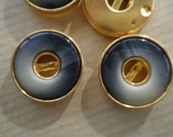 Set of 2 round buttons, plastic, gray and gold color, 19 mm diameter
