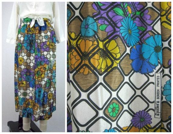 1960s Graphic Skirt / Mod 60s Skirt / Midi Skirt / Midi Full Skirt / Vintage Midi Skirt / Mad Men Skirt / Vintage Screen Printed Full Skirt