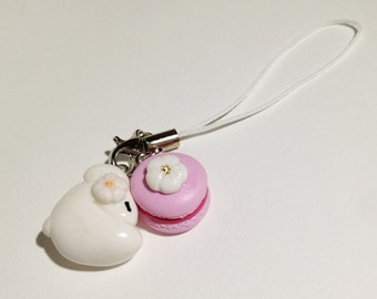 Sleepy Bunny with sakura motif and sakura macaron strap