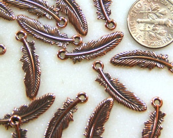 Small Feather Drop Charms, TierraCast Double Sided Charms, Feathers, Antiqued Copper, 4 Pieces, 4618