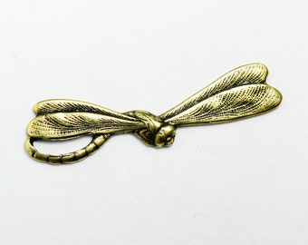 10  Flying Dragonfly Charms with Gold Finish, 30x5mm, Brass, Made in USA, #TB121G