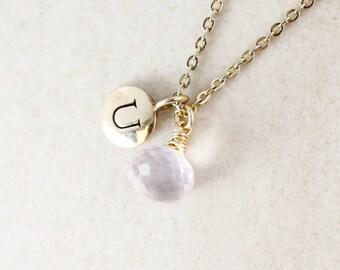Initial & Pink Rose Quartz Necklace - Monogram Necklace