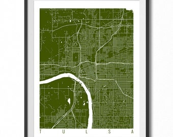 TULSA Map Art Print / Oklahoma Poster / Tulsa Wall Art Decor / Choose Size and Color