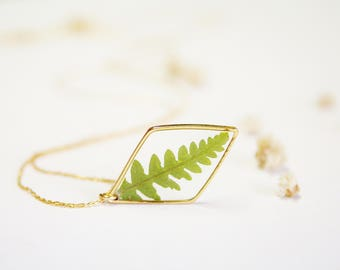 Real fern necklace Delicate pendant Diamond shape Gold plated 16K Pressed fern leaf Real leaves pendant Gift idea Gift for her Geometric