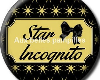 Round cabochon resin 25 mm - star incognito stick (1278) - text, Word