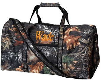 Back Woods Camouflage Camo Duffel Bag Gym groomsman Hunting Blank or Personalized