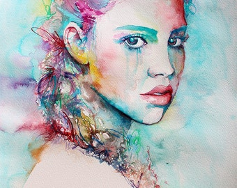 Original Watercolor Painting. Portrait painting of a young girl. Porcelain.