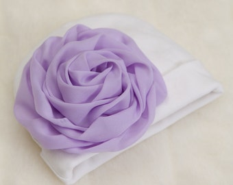 Infant Baby Girl Beanie Hat with Chiffon Flower