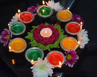 Crochet rose tealight candle holder